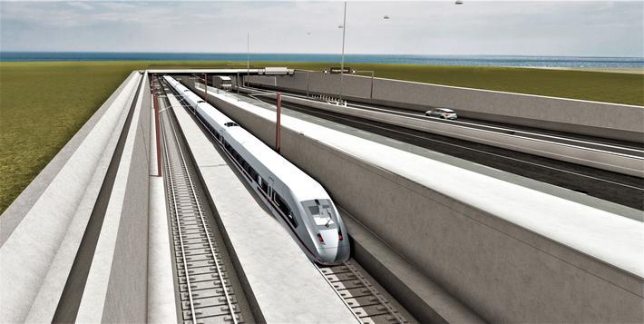 Tunnel danmarl-Tyskland. Et kontroversielt prosjekt, denne planlagte 18 km lange senketunnelen for bil- og togtrafikk mellom Danmark og Tyskland. Illustrasjon: Femern A/S