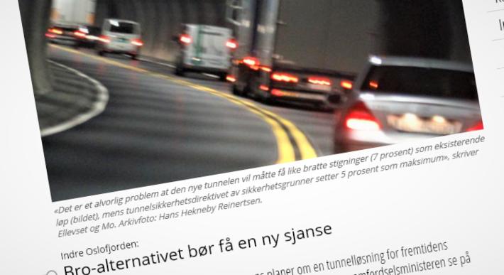 Tunnel bro Oslofjorden. En av flere tidligere omtaler på samferdsel.toi.no om bro kontra tunnel på tvers av Oslofjordens indre del.