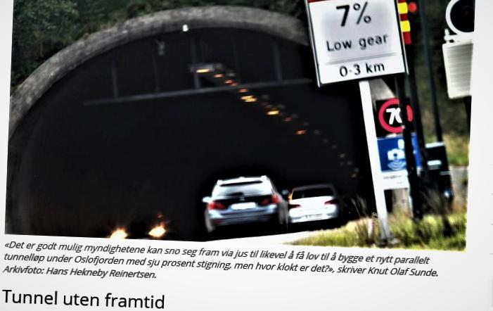 Nei til tunnel Oslofjorden. Utspillene mot ny tunnel er blitt mange. Her et av de tidligere.