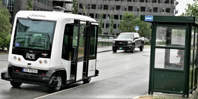 Smart mobilitet i Stavanger. Et eksempel på hvordan Stavanger satser på smart mobilitet: Mobilitetsselskapet Kolumbus var tidlig ute med utprøving av selvkjørende minibuss. Foto: Kolumbus.