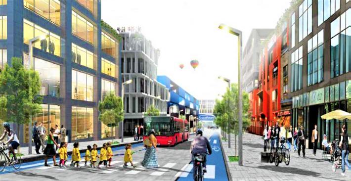 Nullutslippsområde. For at et område skal kunne defineres som nullutslippsområde må det være lett å velge grønn mobilitet. Enkel tilgang til offentlig transport og gode gang- og sykkelstier er blant kriteriene. Illustrasjonen viser planlagt hovedgate i ZEN pilotområde Furuset. Ill.: Plan- og bygningsetaten i Oslo