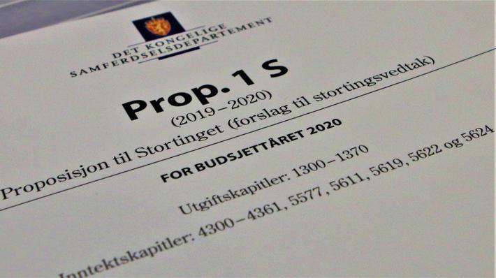 Statsbudsjettforslag, samferdsel. Det foreslåtte samferdselsbudsjettet for 2020. Foto: Samferdsel.