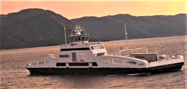 Grønn skipsfart. El-fergen «Ampere» – et norsk eksempel. I en invitasjon til dagens rundebordskonferanse skriver DNV GL: «Som Elon Musk er et forbilde for bilindustrien, er Norge et forbilde for den maritime industrien.» Illustrasjon: Norled, klipp fra video.