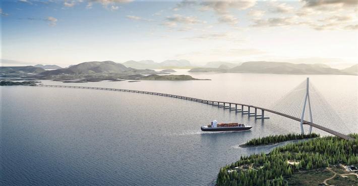 Hordfast, SVV. Slik forestiller Statens vegvesen seg at en stor flytebro over Bjørnafjorden kan se ut. Illustrasjon: Statens vegvesen/Vianova/Baezeni
