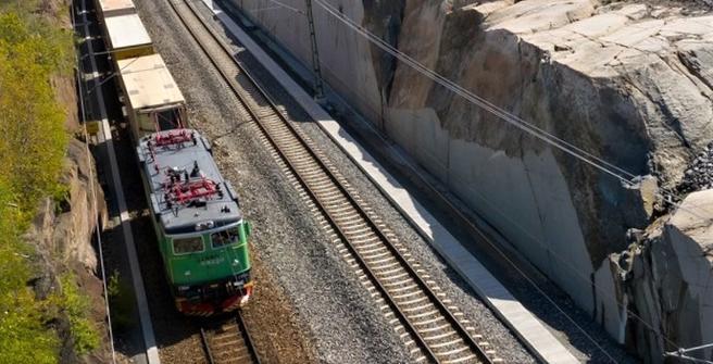 Gøteborgs havn, jernbane. Dobbeltspor på Hamnbanan skal bidra til overføring av gods fra vei til bane. Foto: Göteborgs Hamn AB
