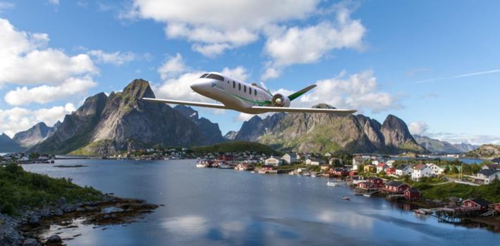 Elfly. En elfly-modell fra Zunum Aero i tenkt flukt over Lofoten. Illustrasjon: Zunum Aero.