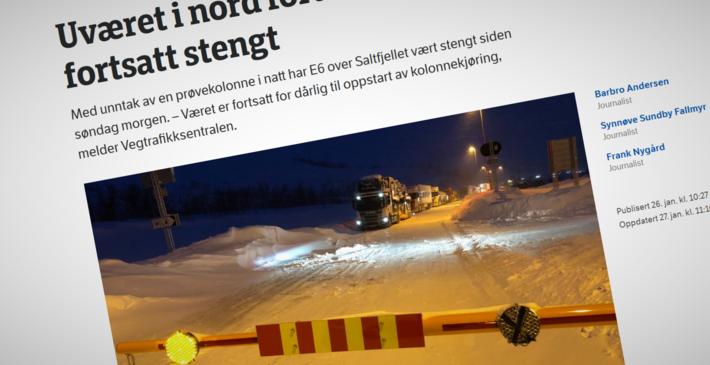 Stengte veier. «I løpet av vinteren har vi opplevd mange tilfeller av stengte fjelloverganger på grunn av dårlig vær og trafikkulykker. Spesielt utsatt er trailere som får problemer på glatte, svingete og bratte norske vinterveger», skriver artikkelforfatterne. Illustrasjon: Klipp fra NRKs nettsider