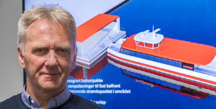 Bybåt i Bergen ... Magne Grostad, prosjektleder for bybåtutredningen og arealplanlegger i Plan- og bygningsetaten, sier at Bybåten vil kunne bli et bidrag til grønn omstilling i Bergen.