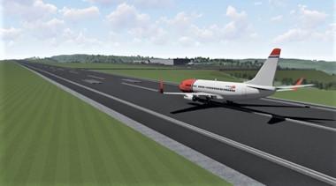 Flyplass, Mo i Rana. En lenge påtenkt ny flyplass i Mo i Rana. Illustrasjon: Polarsirkelen Lufthavnutvikling