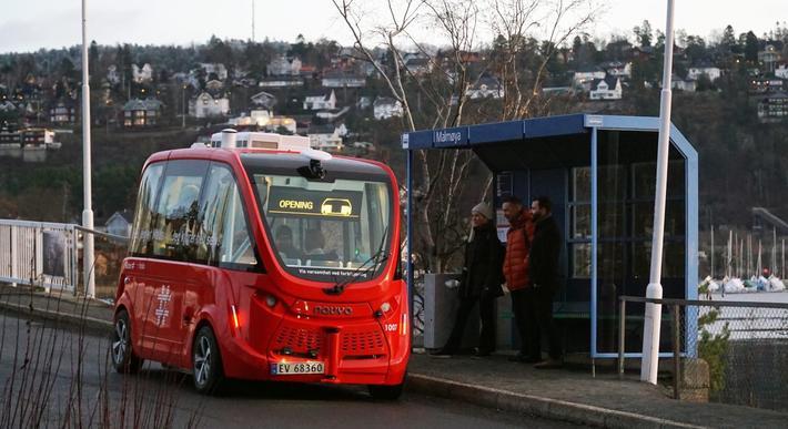 Selvkjørende busser. Fra før er Ruters utprøving av selvkjørende busser i gang på Nedre Bekkelaget (bildet) og på Akershusstranda. Foto: Ruter
