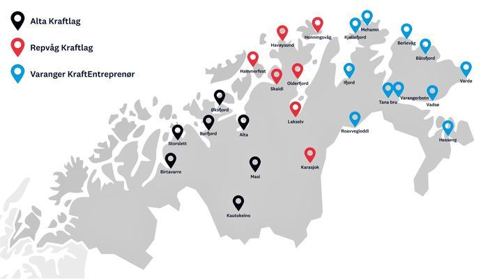 Hurtiglading elbiler Nord-Norge. Slik skal de 25 ladeanleggene plasseres. Illustrasjon: Enova