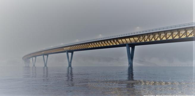 Motorveibro, Mjøsa, trekonstruksjon. Et mulig utseende på den påtenkte broen, her sett fra sydøst. Illustrasjon fra Nye Veier