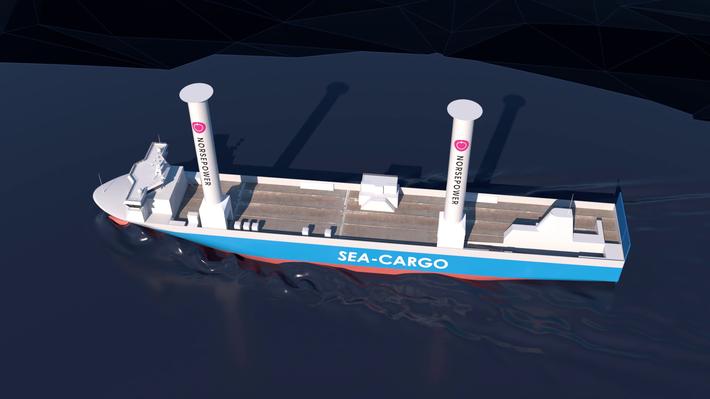 Moderne seilskip. Omtrent slik skal SC «Connector» bli seende ut med rotorseil på plass. Illustrasjon: Enova/Gyro