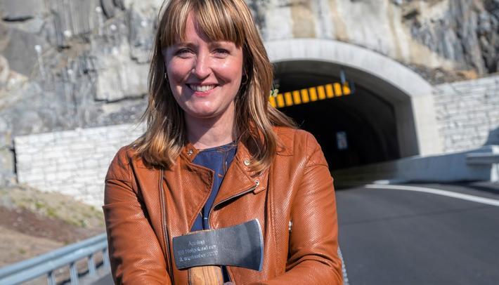 Ingelin Noresjø, statssekretær, sto for åpningen. Foto: Henrik Jonassen, Samferdselsdepartementet.