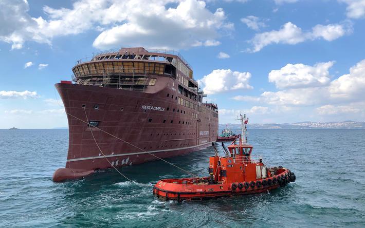 Usikkerhet for kystruten Bergen-Kirkenes. «Havila Capella», et av de to skipene som i helgen ble sjøsatt i Tyrkia. Foto: Havila Kystruten