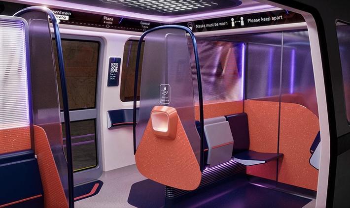 Pandemi-tilpasset metro. Midlertidige skillevegger kan skape «reisebobler» for et lite antall passasjerer. Illustrasjon: Tangerine