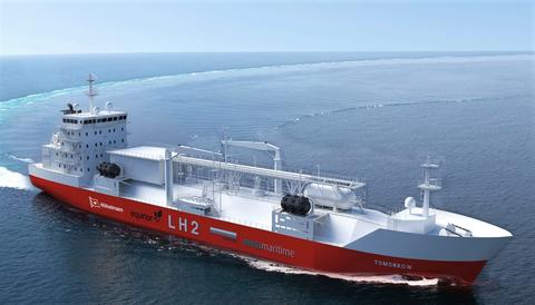 Hydrogen til fremdrift på vei, jernbane, i luften, til sjøs … Norsk Hydrogenforum ser mange muligheter. Her et konsept til et bunkringsskip for hydrogen (LH2). Bak konseptet står Moss Maritime, Equinor, Wilhelmsen og DNV GL. Illustrasjon: Moss Maritime