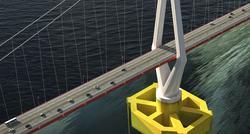 rt prosjekt – konsept for hengebro på flytende fundament. Illustrasjon: Vianova/Baezeni