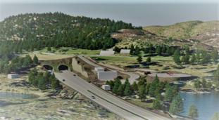 E39 Rogfast. Et av de planlagte tunnelinnslagene til det 26 km lange tunnelsystemet Rogfast. Illustrasjon Statens vegvesen / Cowi as