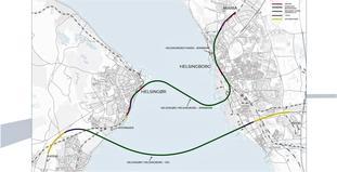 Vei og jernbane Helsingborg-Helsingør. Slik ser utrederne tunnelløpene for jernbane (øverst) og motorvei. Illustrasjon fra den nye utredningen.
