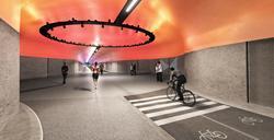 Gang- og sykkeltunnel i Bergen. En 2,9 kilometer tunnel med farget LED-lys, behagelig miljø, og videoovervåkning. Illustrasjon: Bybanen utvikling
