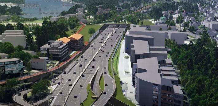 E18 Vestkooridorenb, ny vri. Fremtidens vei ut fra og inn til Oslo … her et glimt av etappe 1. Illustrasjon: Klipp fra Statens vegvesen-video.