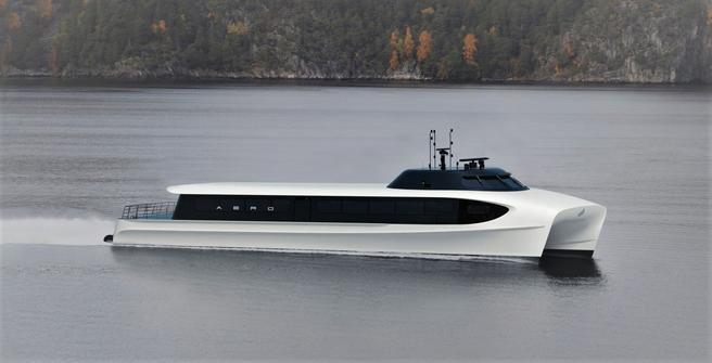 Kanskje el-hurtigbåt på Oslofjorden. Kanskje en hurtigbåt som denne istedenfor bil, buss … Illustrasjon: Brødrene Aa