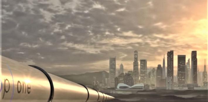Hyperloop. Kanskje i overskuelig fremtid – med Hyperloop istedenfor høyhastighetstog eller fly fra en storby til en annen. Illustrasjon: Klipp fra Virgin Hyperloop-video.